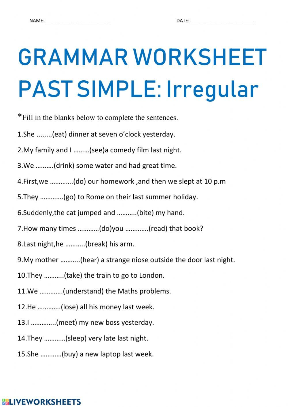 Irregular Verbs Interactive And Downloadable Worksheet You Can Do The Exercises Online Or Download The Works Irregular Verbs Verb Worksheets Teaching Spelling [ 1413 x 1000 Pixel ]
