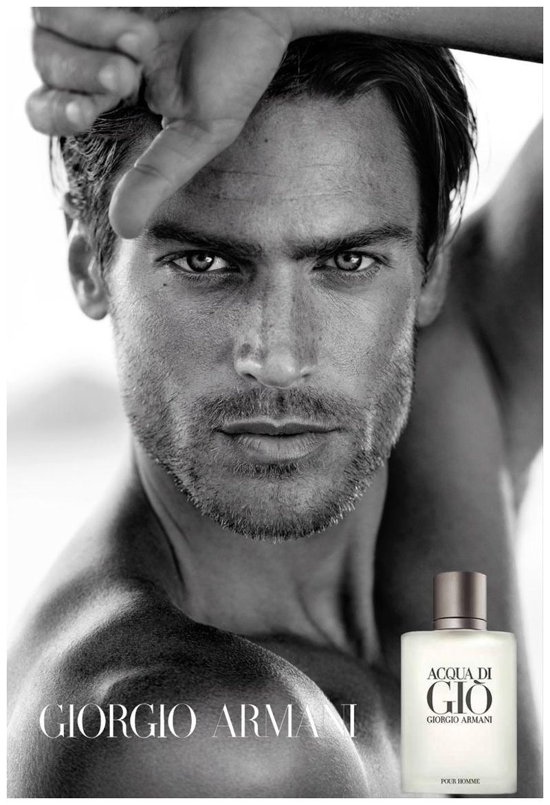 Jason morgan poses for close up for giorgio armani acqua di gio fragrance campaign