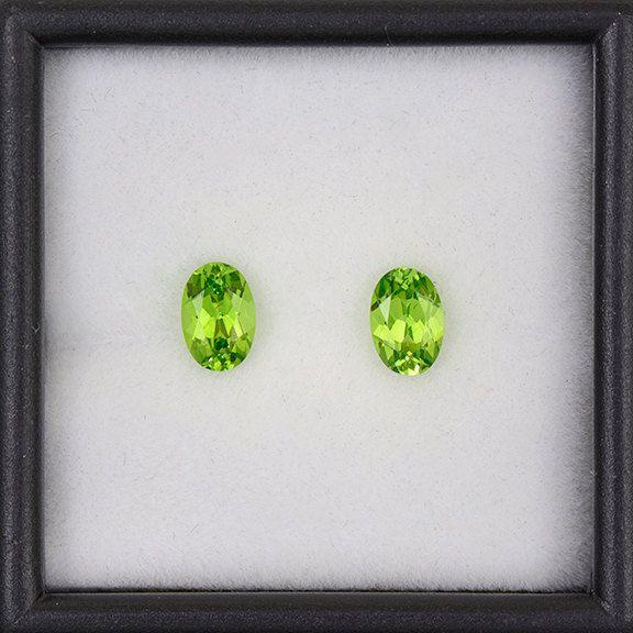 Stunning Green Grossular Garnet Match Gemstone Pair from Tanzania 1.13 tcw.