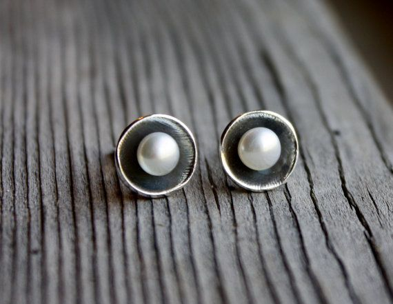 Petite Pearl Cup Post Earrings- Silver Earrings, Pearl Earrings, Organic Form