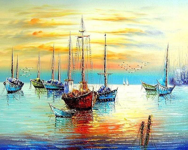 Peinture Par Numero Le Port De Peche En 2020 Peinture Par Numero