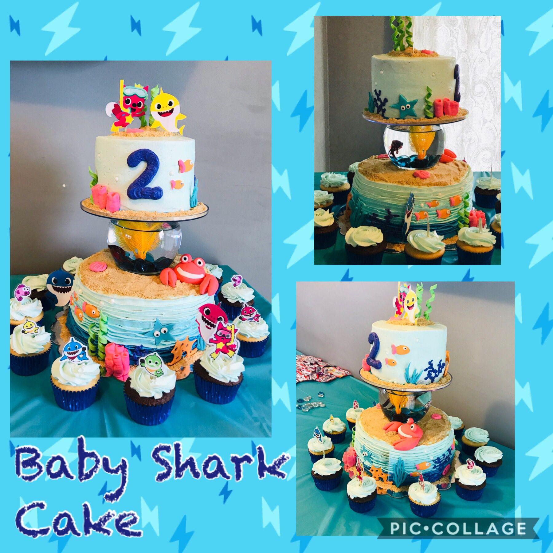 Baby shark cake with live beta fish in bowl shark cake