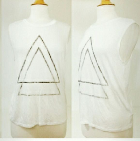 Graphic Muscle Tank White Graphic Muscle Tank.  96% Rayon, & 4% Spandex. Soft Material. Boutique  Tops Muscle Tees