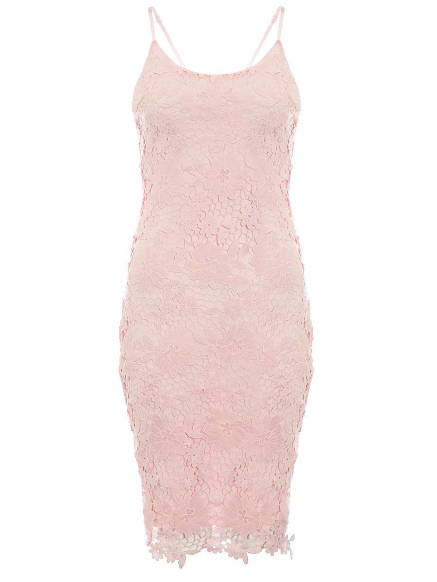 Pink Crochet Lace Strap Midi Dress - Quiz Clothing  Lace straps