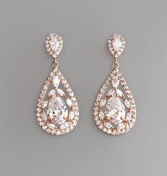 Rose Gold Bridal Earrings Crystal Teardrop by BeFrostedBridal