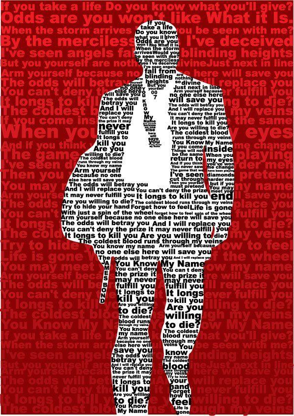 Typographic Art Casino Royale James Bond Theme You Know My Name