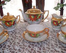 Lusterware Tea Set Noritake Service for Six  23 Complete Luncheon Red Flower Chikamarachi  1928 - 1946