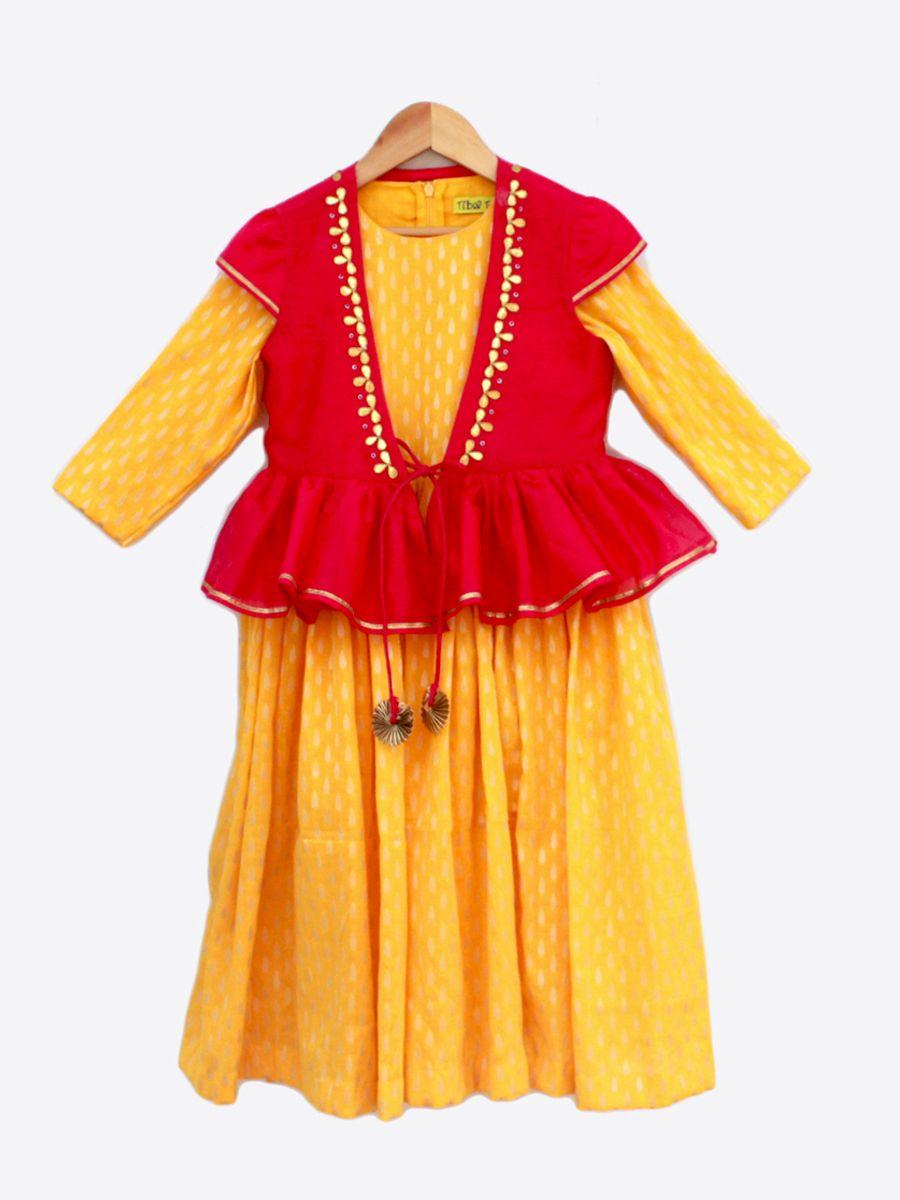 489976c455 Buy Marigold Ghaghra Gown Set Girl   Chhoti Gudiya   Peplum jacket ...