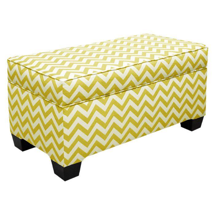 Yellow Chevron Storage Ottoman Fabric Storage Ottoman