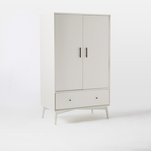 Mid Century Wardrobe White Furniture Tall Cabinet Storage Modern Furniture