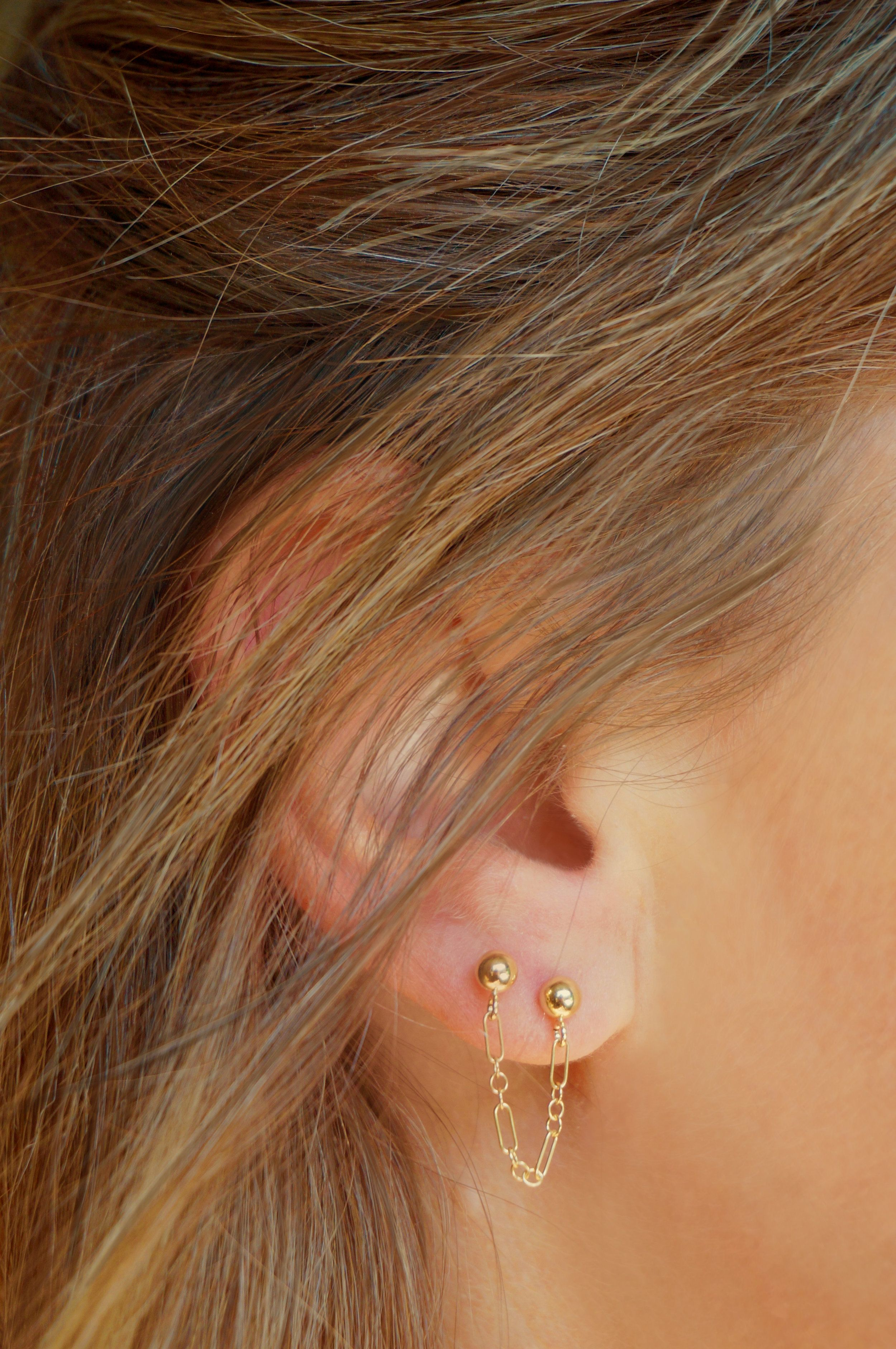 Our Chloe Earrings Connect One Earlobe Or Cartilage Piercing To