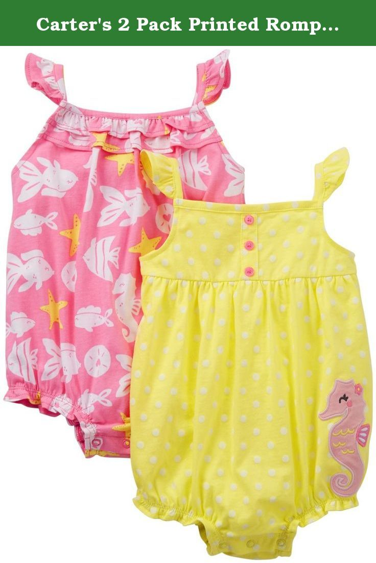Carter S 2 Pack Printed Rompers Baby Yellow Seahorse Nb Carte