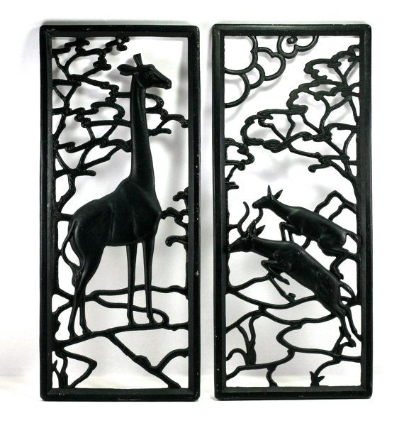 Giraffe And Antelope On Serengeti Black Metal Wall Art Etsy Black Metal Wall Art Etsy Wall Art Animal Wall Art