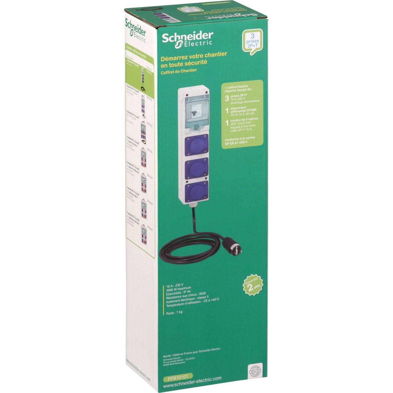 Coffret De Chantier étanche 3 Prises 2pt Schneider Electric