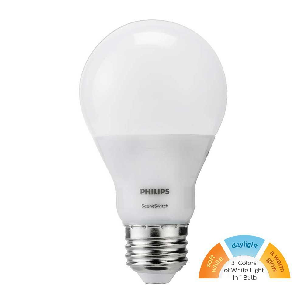 Philips 60w Equivalent Daylight Soft White Warm Glow Scene Switch A19 Led Energy Star Light Bulb 464834 The Home Depot Light Bulb Bulb Light Bulb Candle