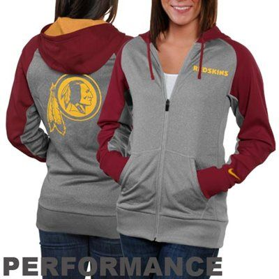 2e58e6573 Nike Washington Redskins Ladies Die-Hard Full Zip Performance Hoodie -  Ash Burgundy