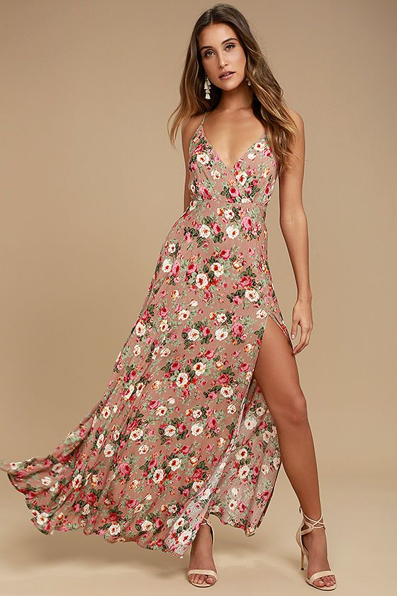 85a411bd23 Lulus Exclusive! Happy days never have to end now that the Everlasting  Bliss Blush Floral Print Maxi Dress has arrived! Gauzy woven rayon has an  elegant ...