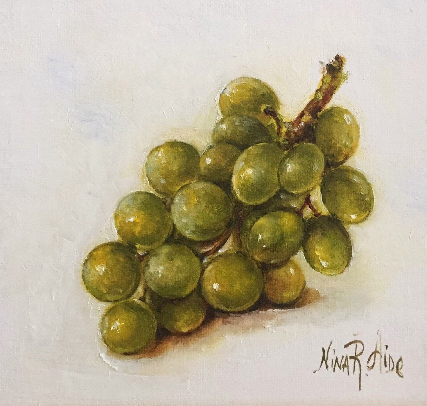 Oil Painting Green Grapes by Nina R.Aide Still Life Kitchen Art ...