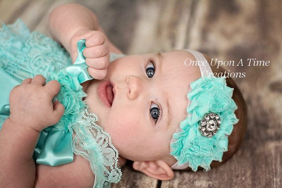 Pale Aqua Blue Shabby Flower on White Elastic Headband with Simple Rhinestone Center - Newborn Baby Little Girls Hair Bow