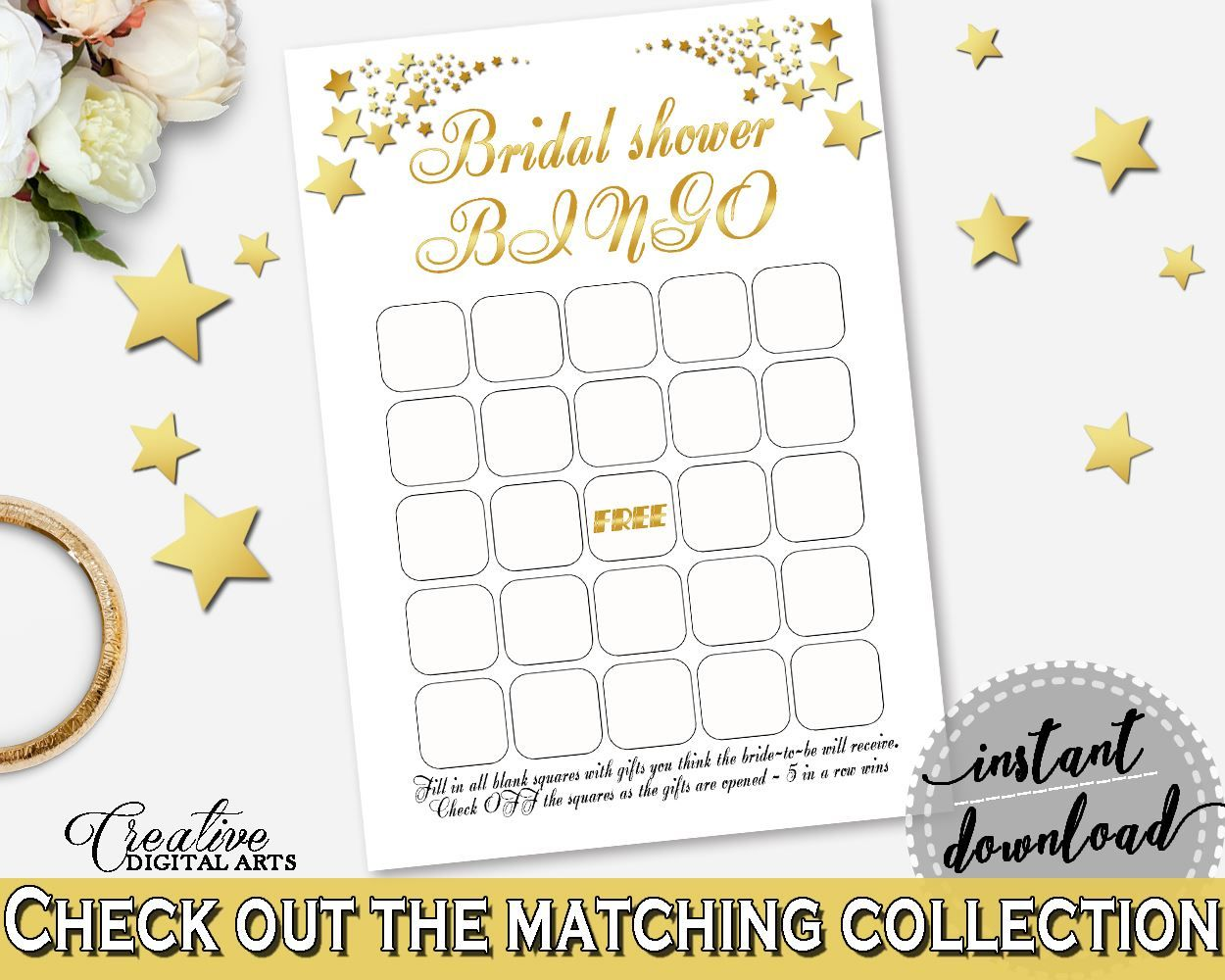 Bingo Gift Game in Gold Stars Bridal Shower White And Gold Theme ...