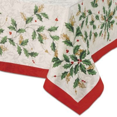 Lenox Holiday Holly 60 X 120 Oblong Tablecloth In Ivory Christmas Table Cloth Holiday Tablecloths Christmas Dinner Table Settings