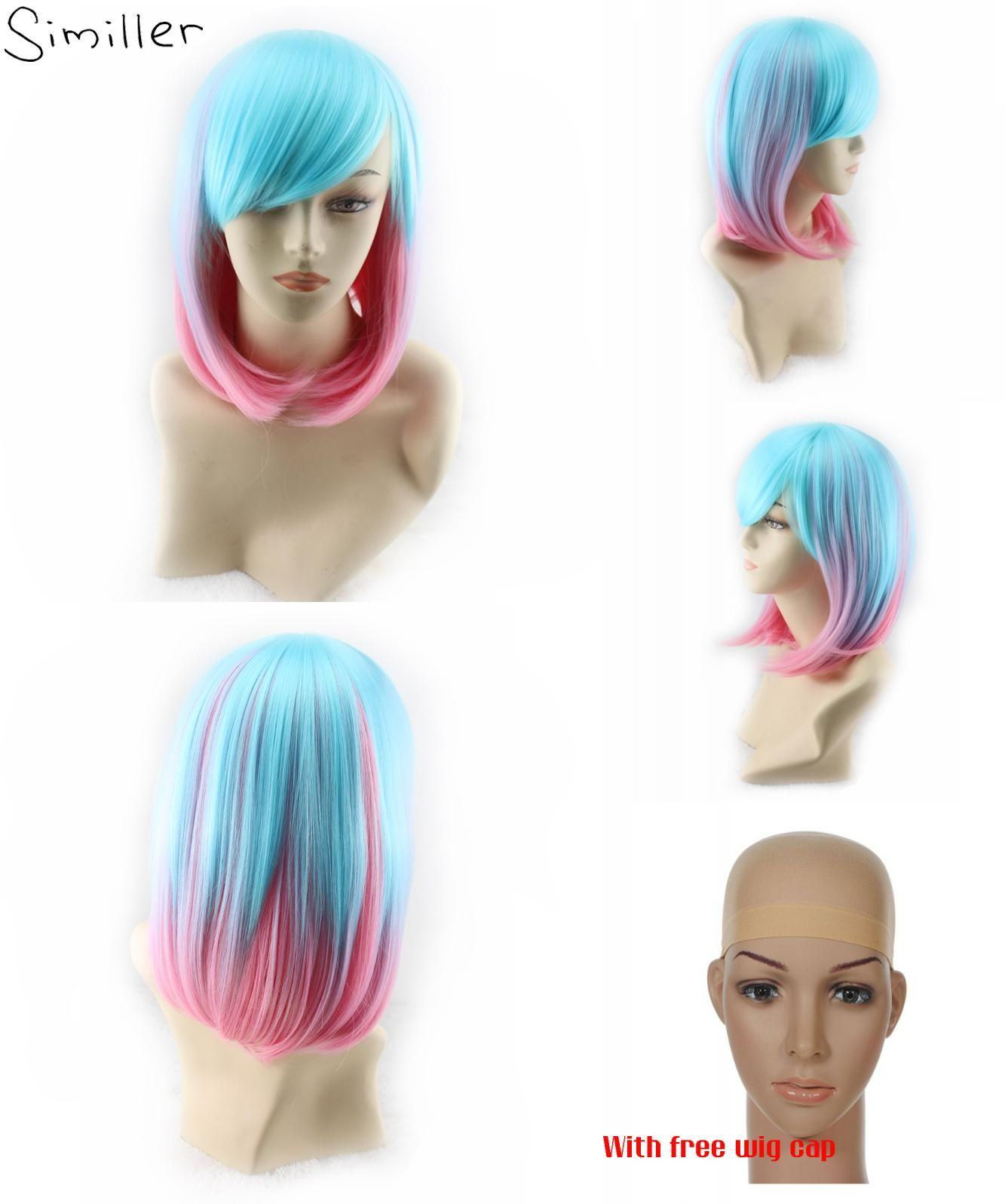 Visit To Buy Simille Women S Straight Short Hair Synthetic Wigs Blue Pink Mixed Colors For Cosplay Party Advertisement Short Hair Styles Synthetic Wigs Wigs