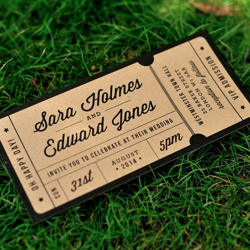 Rustic Recycled Ticket Wedding Invitation   U0027Just The Ticketu0027 Design   One  Sample By