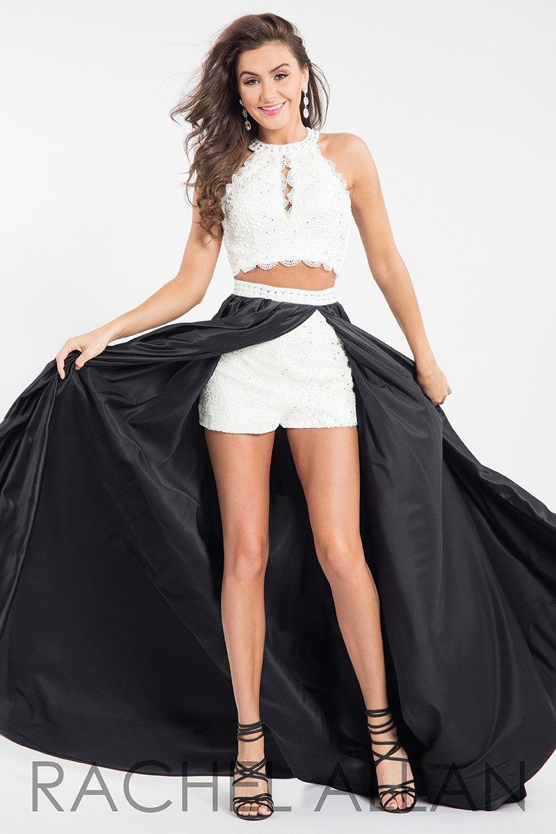 rachel allan 7590 whiteblack two piece with shorts prom