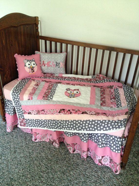 Grey Pink And Mauve Baby Girl Owl Crib Set On Etsy 360