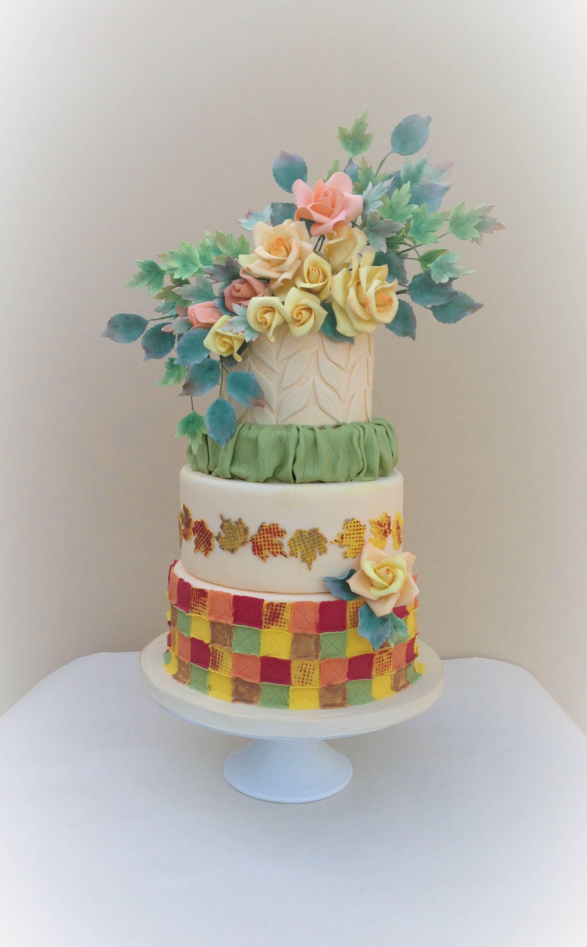 Autumn quilt cake featured in Cake Central magazine!