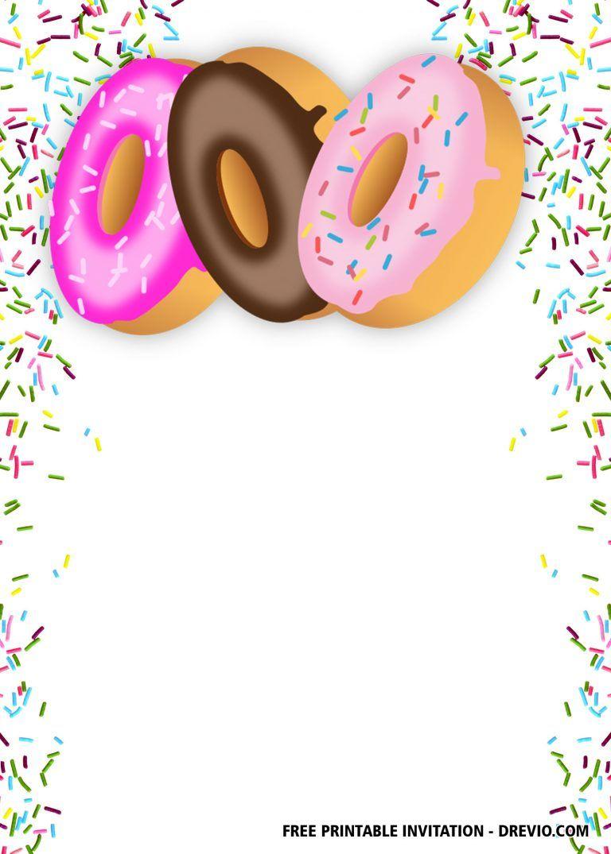 Free Editable Donuts Party Invitation Templates Donut Party Party Invite Template Free Printable Birthday Invitations