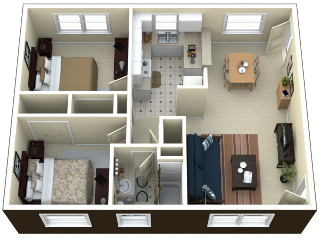 3D Floor Plan image 2 for the 2 Bedroom Apartment Floor Plan of ...