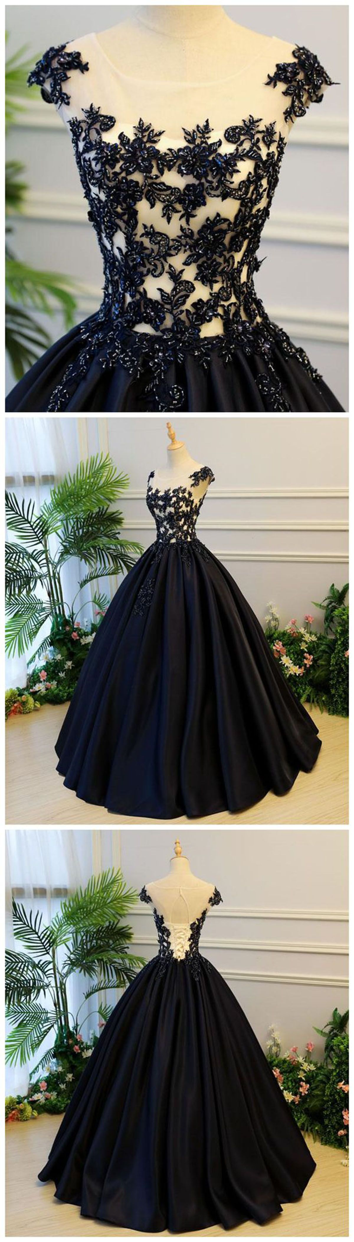 Black satin cap sleeves long evening dress long black lace ball