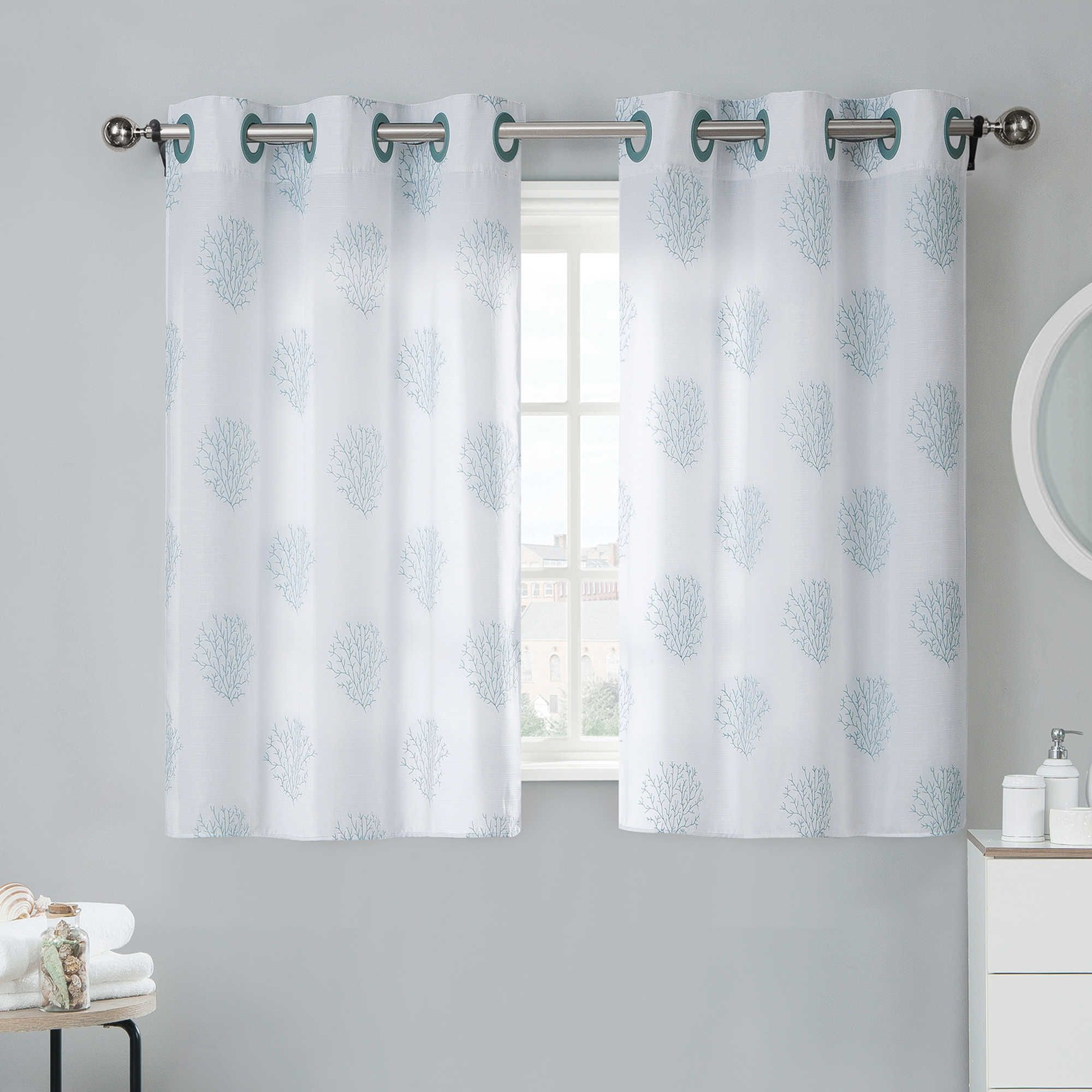 Coral Reef 38 Inch Bath Window Curtain Tier Pair In Grey Mist Small Window Curtains Small Bathroom Window Bathroom Curtains