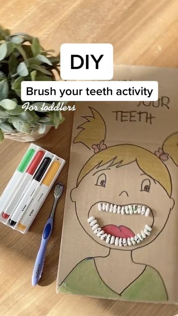 DIY Brush your teeth activity ✨#diyproject #kidsoftiktok #tiktokpartner #learnontiktok #momsoftiktok