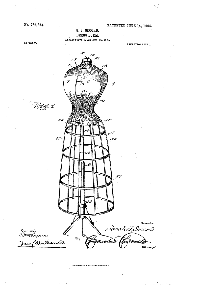 1904 patent us762354 - dress-form
