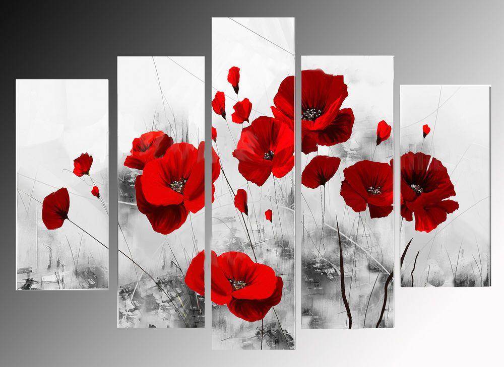QUADRI MODERNI ASTRATTI DIPINTI A MANO OLIO SU TELA ASTRATTO ROSSO fiori