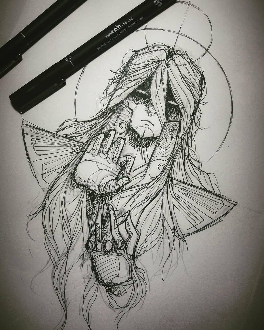 Virgo Shaka Sketchtattoo Illustration Blackillustration
