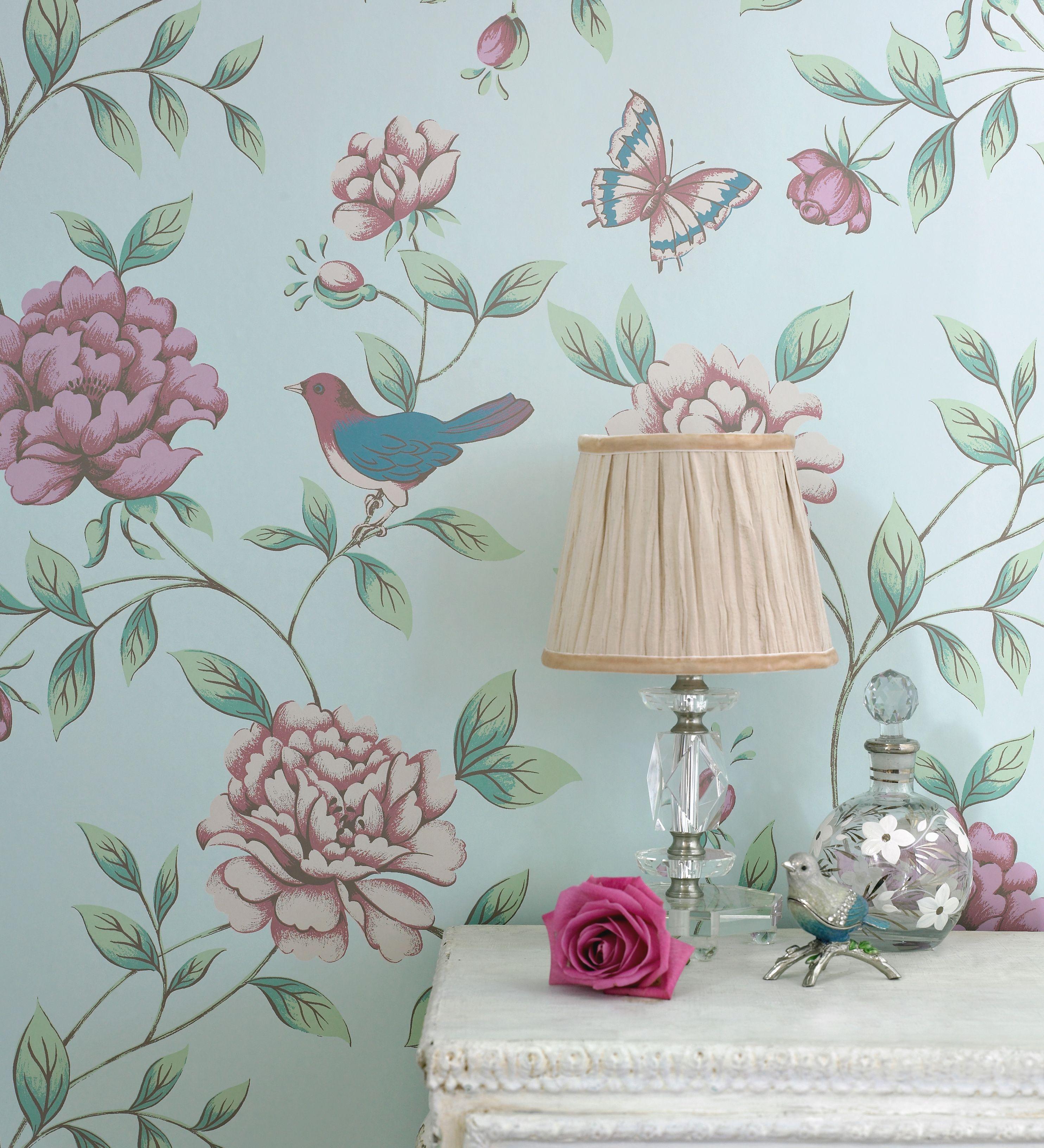 Behang monsoon van graham brown vogels romantisch rozen idee n voor het huis pinterest - Behang voor trappenhuis ...