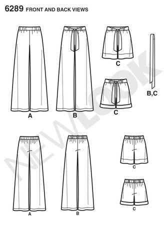NL6289 Misses' Pull-on Pants or Shorts & Tie Belt