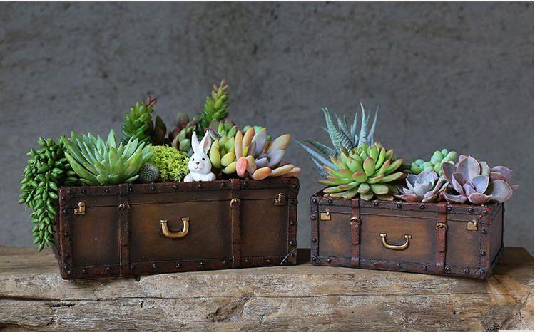 Resin Cacti Succulent Plant Flower Pot Garden Planter Case Suitcase /& Book