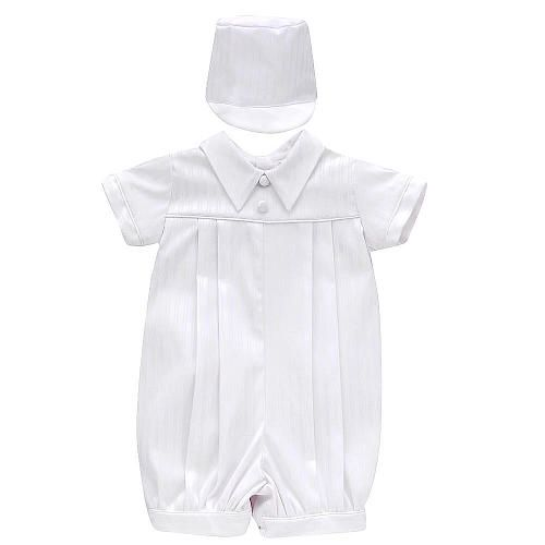 Small World Boys White Short Sleeve Christening Romper And
