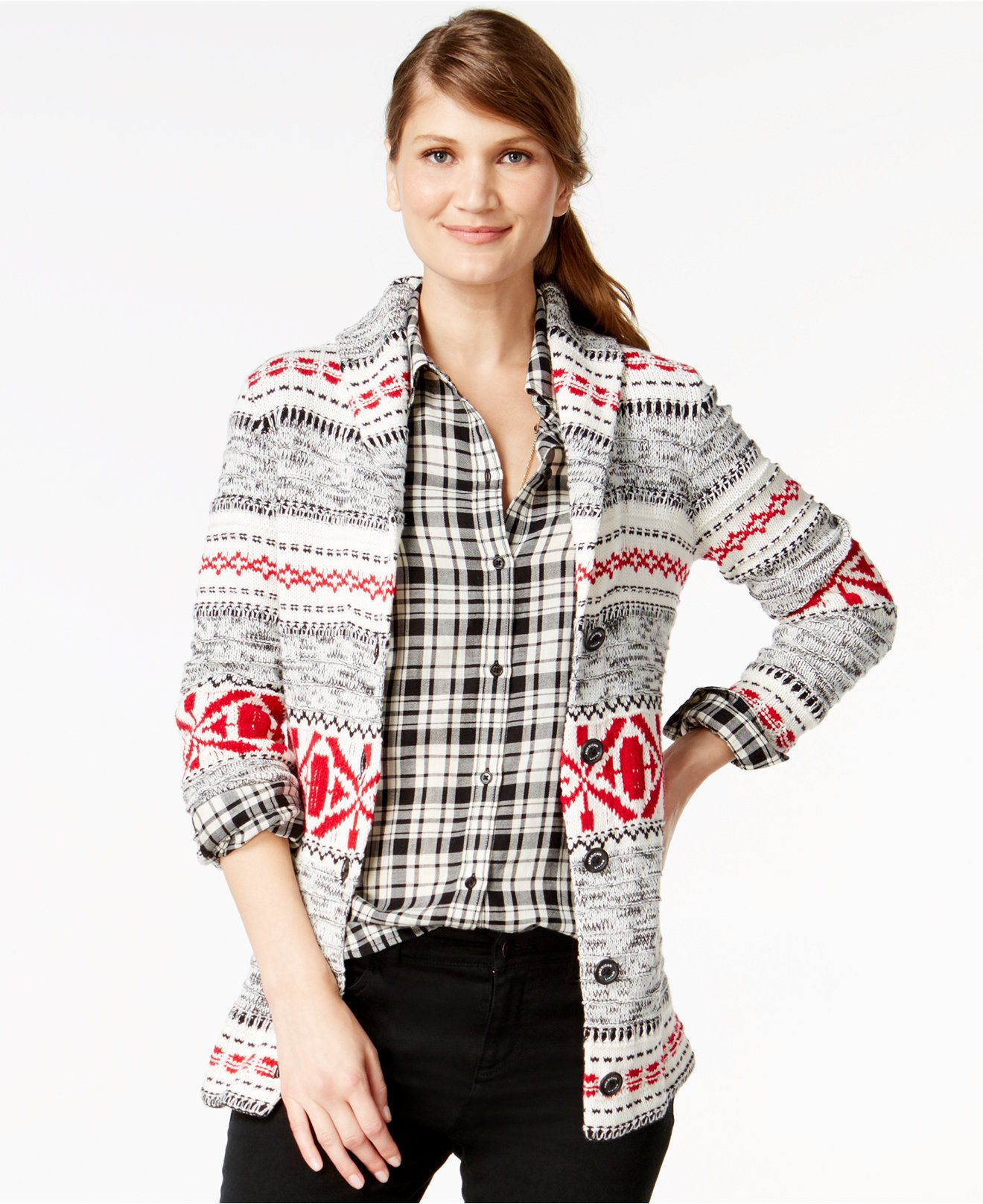 American Living Fair-Isle-Print Cardigan Sweater, Only at Macy's ...