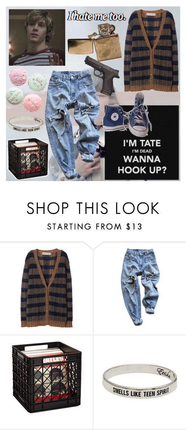 """""""Pumped up Kicks"""" // """"Smells Like Teen Spirit"""" by frerardforever ❤ liked on Polyvore featuring Langdon, Marni, Converse, VesseL, Levi's and Ettika"""
