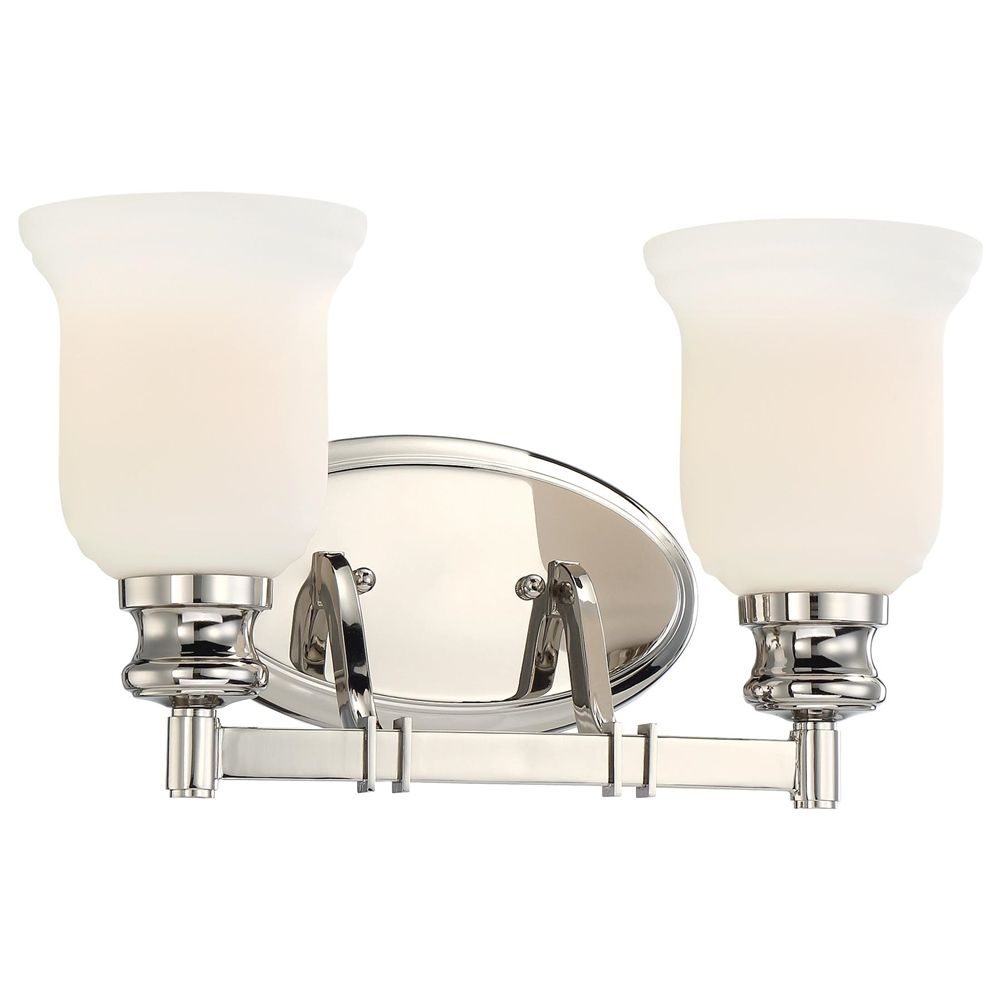 Minka Lavery Audrey S Point 2 Light Bath In Polished Nickel With Etched Opal Glass 3292 613 Polished Nickel Minka Lavery Bath Light