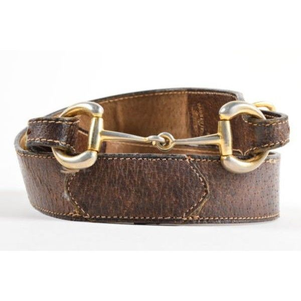1f356f3be60 Pre-Owned Vintage Gucci Brown Gold Tone Leather Horsebit Buckle Belt... (