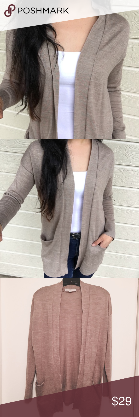 Ann taylor loft light brown long sleeve cardigan