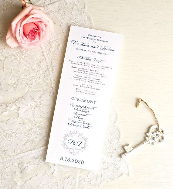 Navy Wedding Ceremony Programs  Classic Love  Purchase To Start