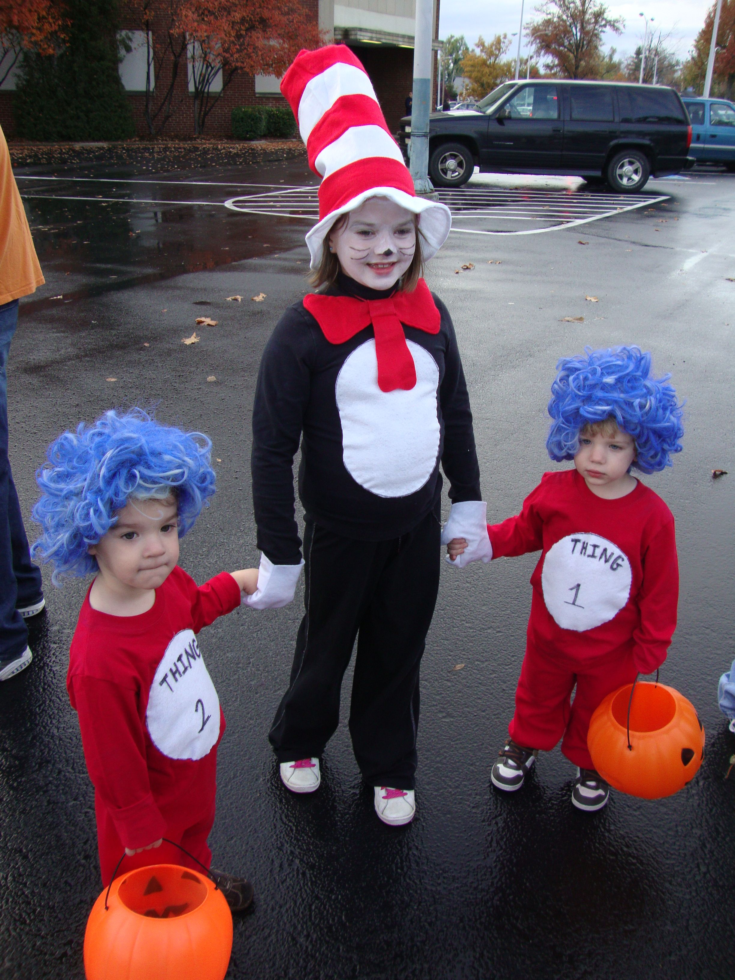 home made Dr. Seuss   thing one and thing two costumes  896bc3fe5