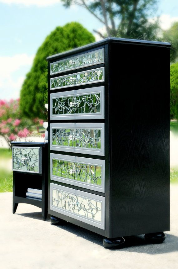 Best Mirrored Mosaic 6 Drawer Tall Dresser And Nightstand On 400 x 300